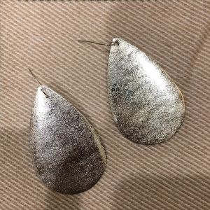 Silver (color) Textured Plate Earrings